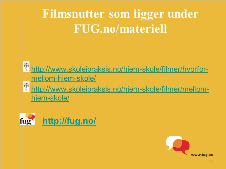 19 Filmsnutter som ligger under FUG.no/materiell http://www.skoleipraksis.no/hjem-skole/filmer/hvorfor- mellom-hjem-skole/ http://www.skoleipraksis.no