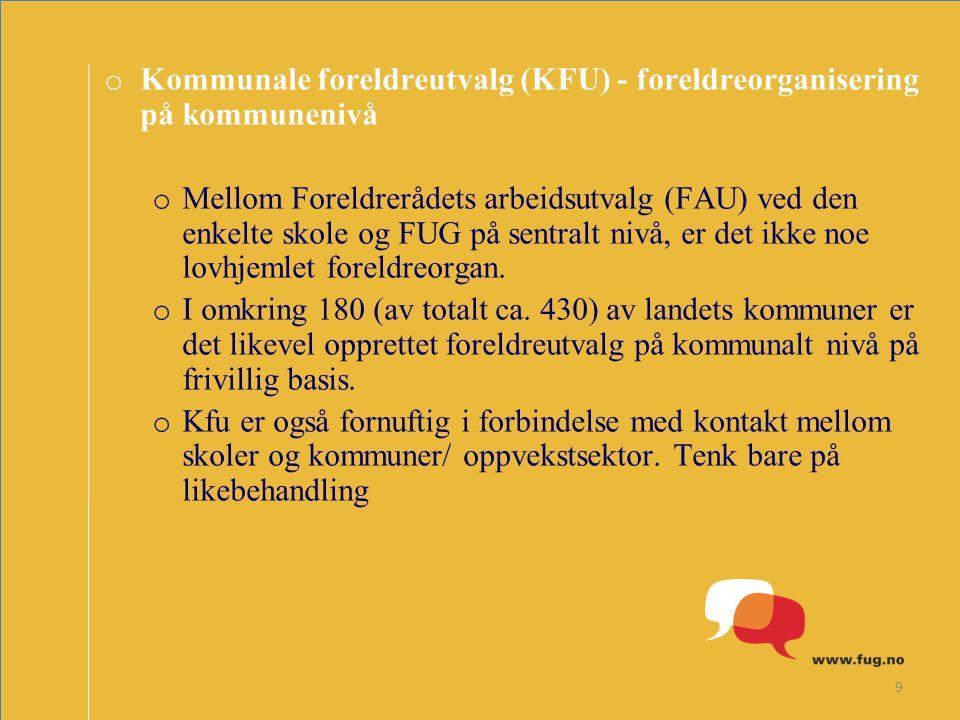 9 o Kommunale foreldreutvalg (KFU) - foreldreorganisering på kommunenivå o Mellom Foreldrerådets arbeidsutvalg (FAU) ved den enkelte skole og FUG på s
