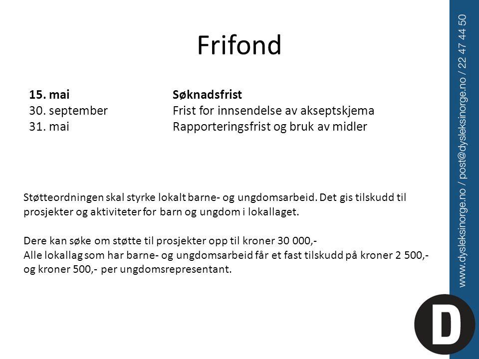 Frifond 15. mai Søknadsfrist 30. september Frist for innsendelse av akseptskjema 31. mai Rapporteringsfrist og bruk av midler Støtteordningen skal sty