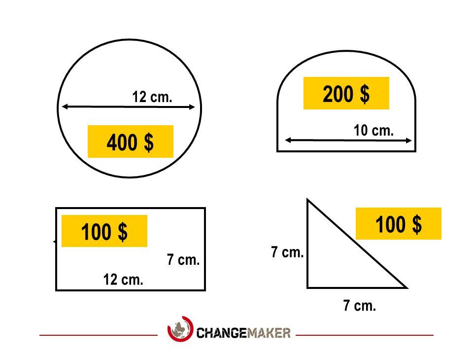 12 cm. 10 cm. 12 cm. 7 cm. 400 $ 200 $ 100 $
