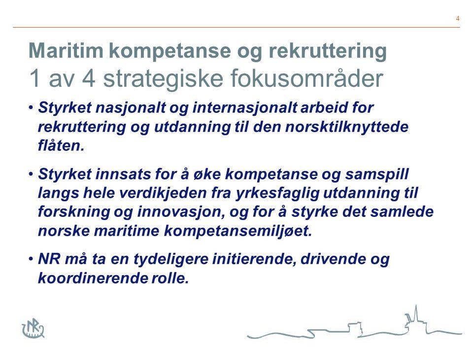 4 Maritim kompetanse og rekruttering 1 av 4 strategiske fokusområder Styrket nasjonalt og internasjonalt arbeid for rekruttering og utdanning til den norsktilknyttede flåten.