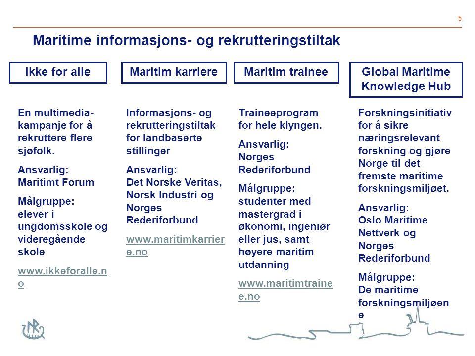 6 2-årig program hele klyngen 20 - 30 traineer i året masterstudenter og maritime studenter kombinasjon av jobb og faglig program 6 samlinger i Norge, England og Singapore www.maritimtrainee.no Maritim trainee