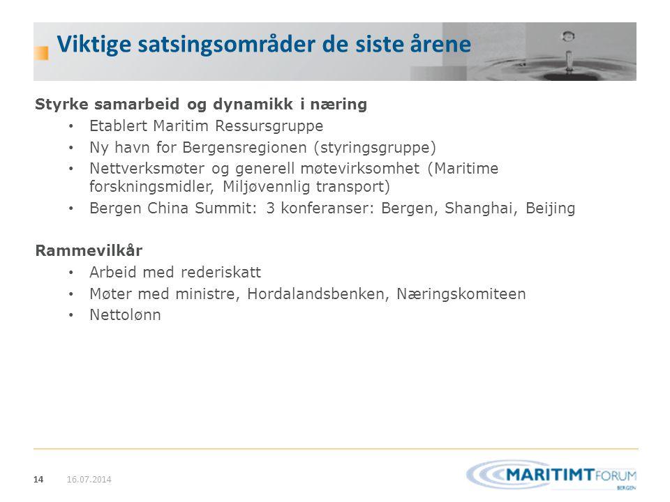 14 Viktige satsingsområder de siste årene Styrke samarbeid og dynamikk i næring Etablert Maritim Ressursgruppe Ny havn for Bergensregionen (styringsgr
