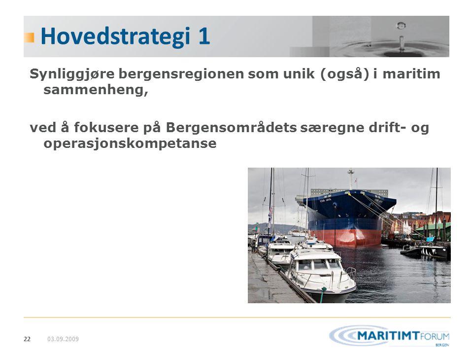 22 Hovedstrategi 1 Synliggjøre bergensregionen som unik (også) i maritim sammenheng, ved å fokusere på Bergensområdets særegne drift- og operasjonskom