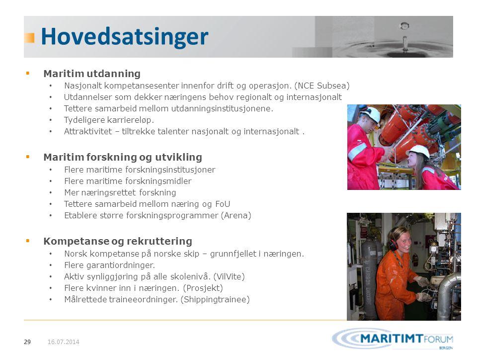 29 Hovedsatsinger  Maritim utdanning Nasjonalt kompetansesenter innenfor drift og operasjon. (NCE Subsea) Utdannelser som dekker næringens behov regi