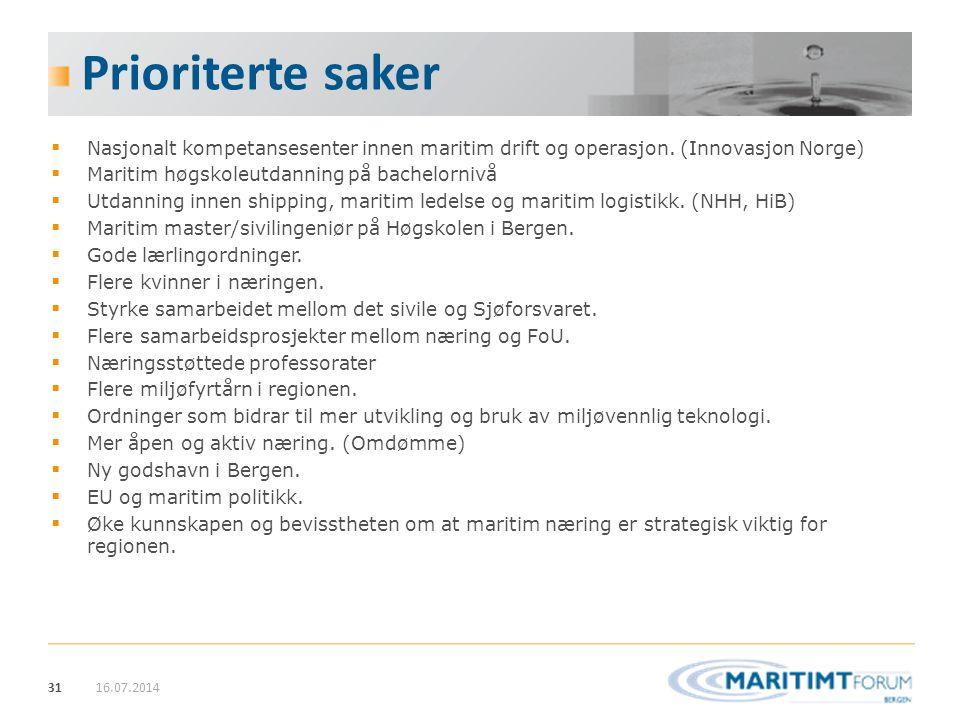31 Prioriterte saker  Nasjonalt kompetansesenter innen maritim drift og operasjon. (Innovasjon Norge)  Maritim høgskoleutdanning på bachelornivå  U