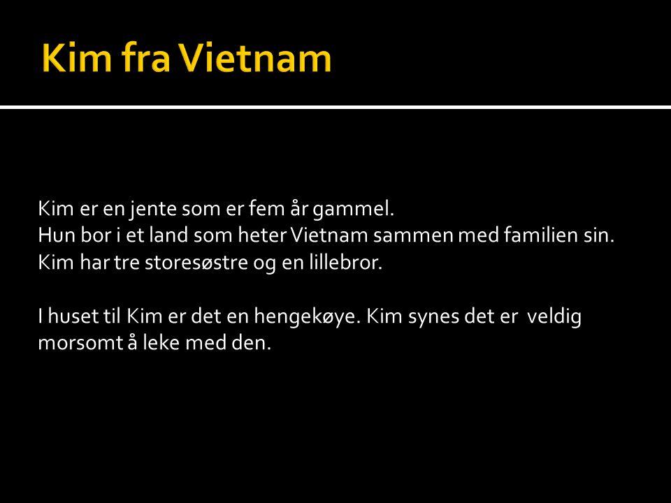 Kim er en jente som er fem år gammel. Hun bor i et land som heter Vietnam sammen med familien sin. Kim har tre storesøstre og en lillebror. I huset ti