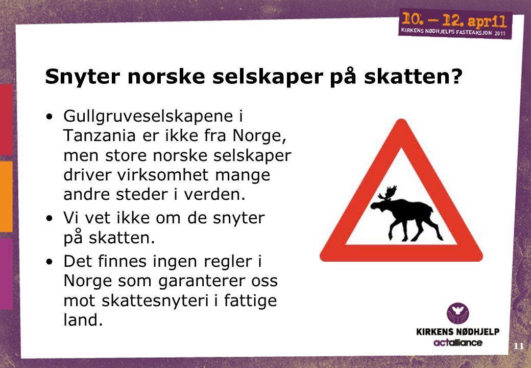 11 Snyter norske selskaper på skatten? Gullgruveselskapene i Tanzania er ikke fra Norge, men store norske selskaper driver virksomhet mange andre sted