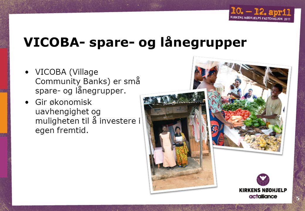 5 VICOBA- spare- og lånegrupper VICOBA (Village Community Banks) er små spare- og lånegrupper.