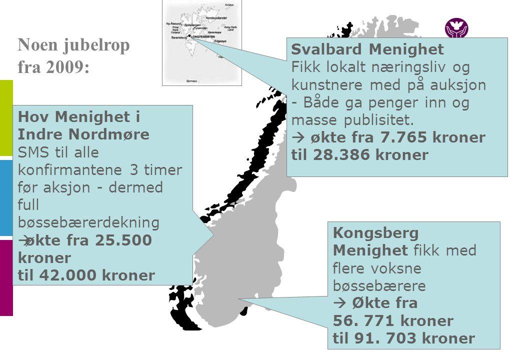 Noen jubelrop fra 2009: Kongsberg Menighet fikk med flere voksne bøssebærere  Økte fra 56.