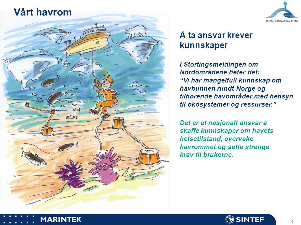"""MARINTEK 3 Vårt havrom Å ta ansvar krever kunnskaper I Stortingsmeldingen om Nordområdene heter det: """"Vi har mangelfull kunnskap om havbunnen rundt No"""