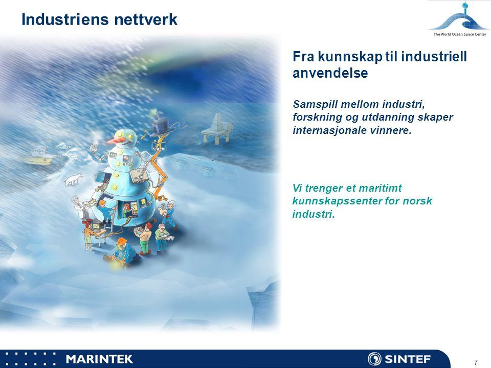 MARINTEK 7 Industriens nettverk Fra kunnskap til industriell anvendelse Samspill mellom industri, forskning og utdanning skaper internasjonale vinnere