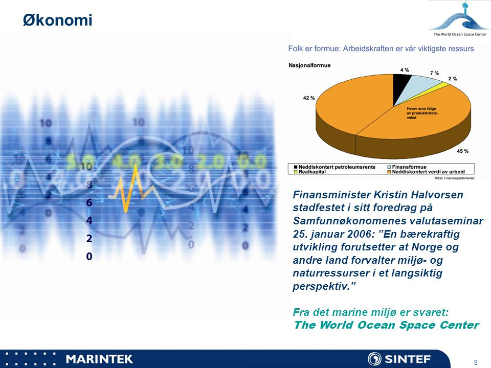 """MARINTEK 8 Finansminister Kristin Halvorsen stadfestet i sitt foredrag på Samfunnøkonomenes valutaseminar 25. januar 2006: """"En bærekraftig utvikling f"""