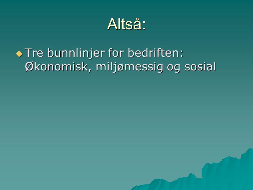 Altså:  Tre bunnlinjer for bedriften: Økonomisk, miljømessig og sosial