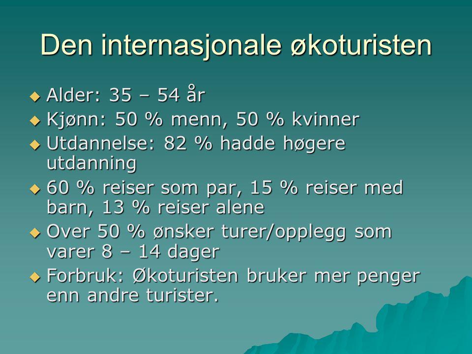 Den internasjonale økoturisten  Alder: 35 – 54 år  Kjønn: 50 % menn, 50 % kvinner  Utdannelse: 82 % hadde høgere utdanning  60 % reiser som par, 1