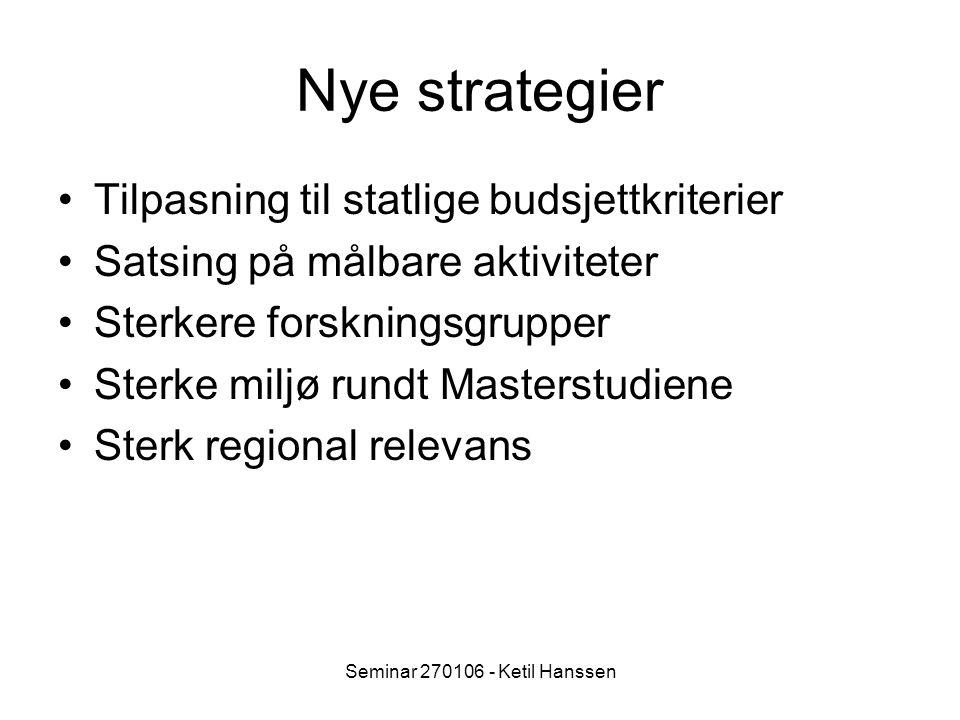 Seminar 270106 - Ketil Hanssen Nye strategier Tilpasning til statlige budsjettkriterier Satsing på målbare aktiviteter Sterkere forskningsgrupper Sterke miljø rundt Masterstudiene Sterk regional relevans