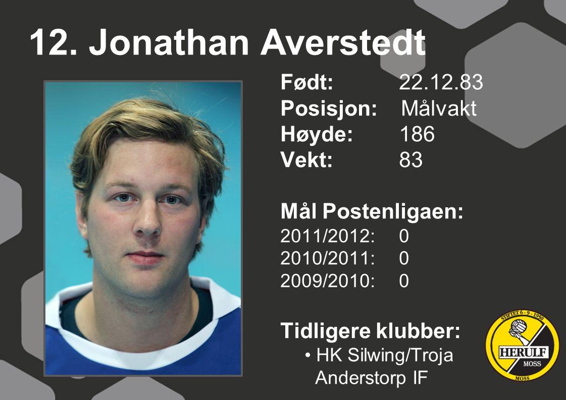 12. Jonathan Averstedt Født: 22.12.83 Posisjon: Målvakt Høyde:186 Vekt:83 Mål Postenligaen: 2011/2012: 0 2010/2011: 0 2009/2010: 0 Tidligere klubber: