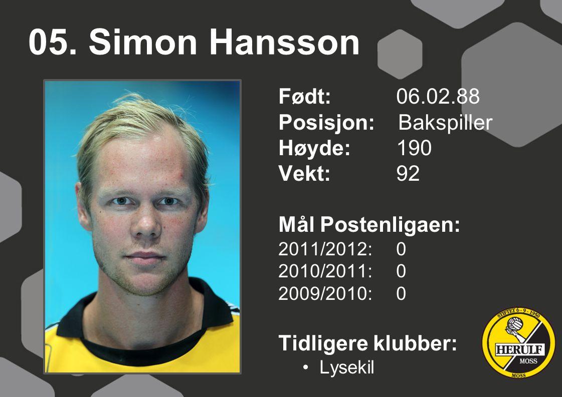 05. Simon Hansson Født: 06.02.88 Posisjon: Bakspiller Høyde:190 Vekt:92 Mål Postenligaen: 2011/2012: 0 2010/2011: 0 2009/2010: 0 Tidligere klubber: Ly