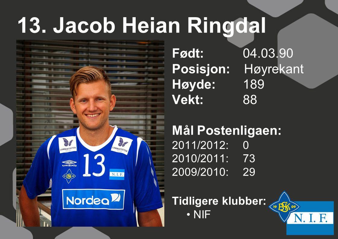13. Jacob Heian Ringdal Født: 04.03.90 Posisjon: Høyrekant Høyde:189 Vekt:88 Mål Postenligaen: 2011/2012: 0 2010/2011: 73 2009/2010: 29 Tidligere klub