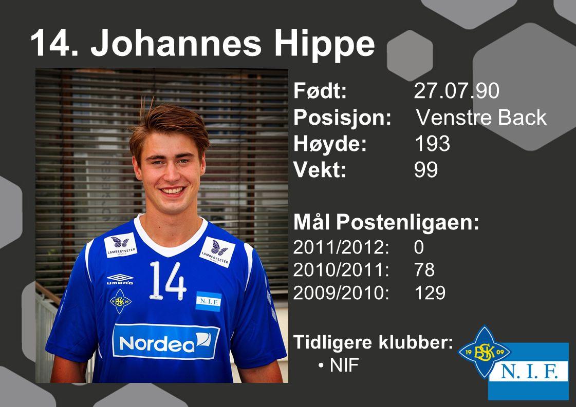 14. Johannes Hippe Født: 27.07.90 Posisjon: Venstre Back Høyde:193 Vekt:99 Mål Postenligaen: 2011/2012: 0 2010/2011: 78 2009/2010: 129 Tidligere klubb