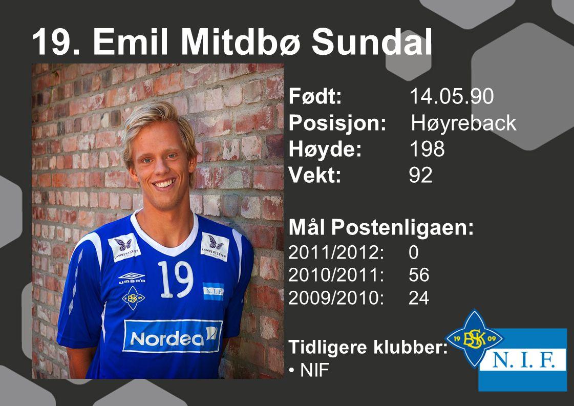 19. Emil Mitdbø Sundal Født: 14.05.90 Posisjon: Høyreback Høyde:198 Vekt:92 Mål Postenligaen: 2011/2012: 0 2010/2011: 56 2009/2010: 24 Tidligere klubb