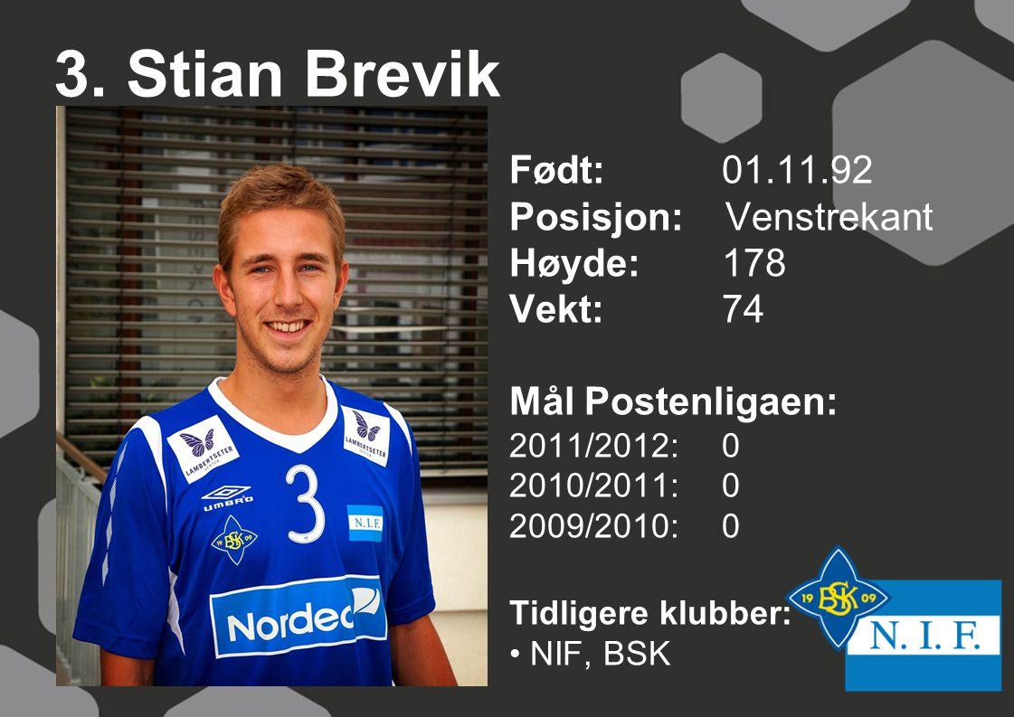3. Stian Brevik Født: 01.11.92 Posisjon: Venstrekant Høyde:178 Vekt:74 Mål Postenligaen: 2011/2012: 0 2010/2011: 0 2009/2010: 0 Tidligere klubber: NIF