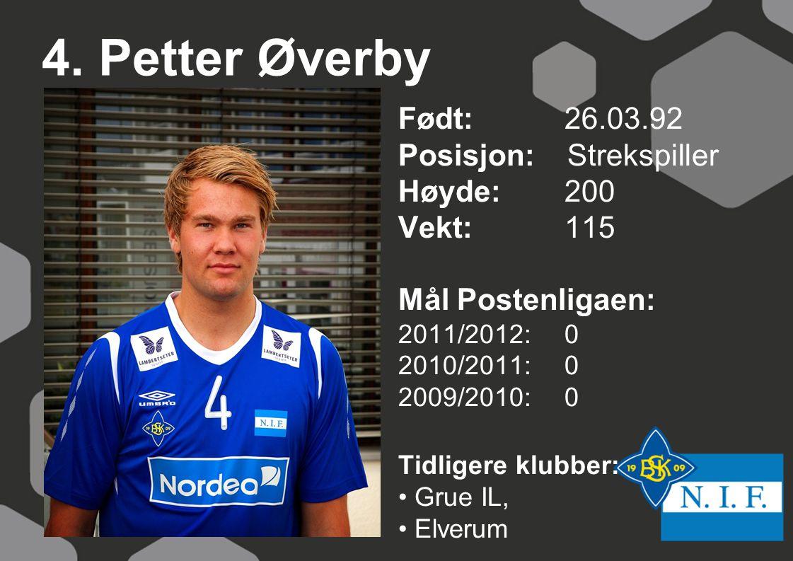 4. Petter Øverby Født: 26.03.92 Posisjon: Strekspiller Høyde:200 Vekt:115 Mål Postenligaen: 2011/2012: 0 2010/2011: 0 2009/2010: 0 Tidligere klubber: