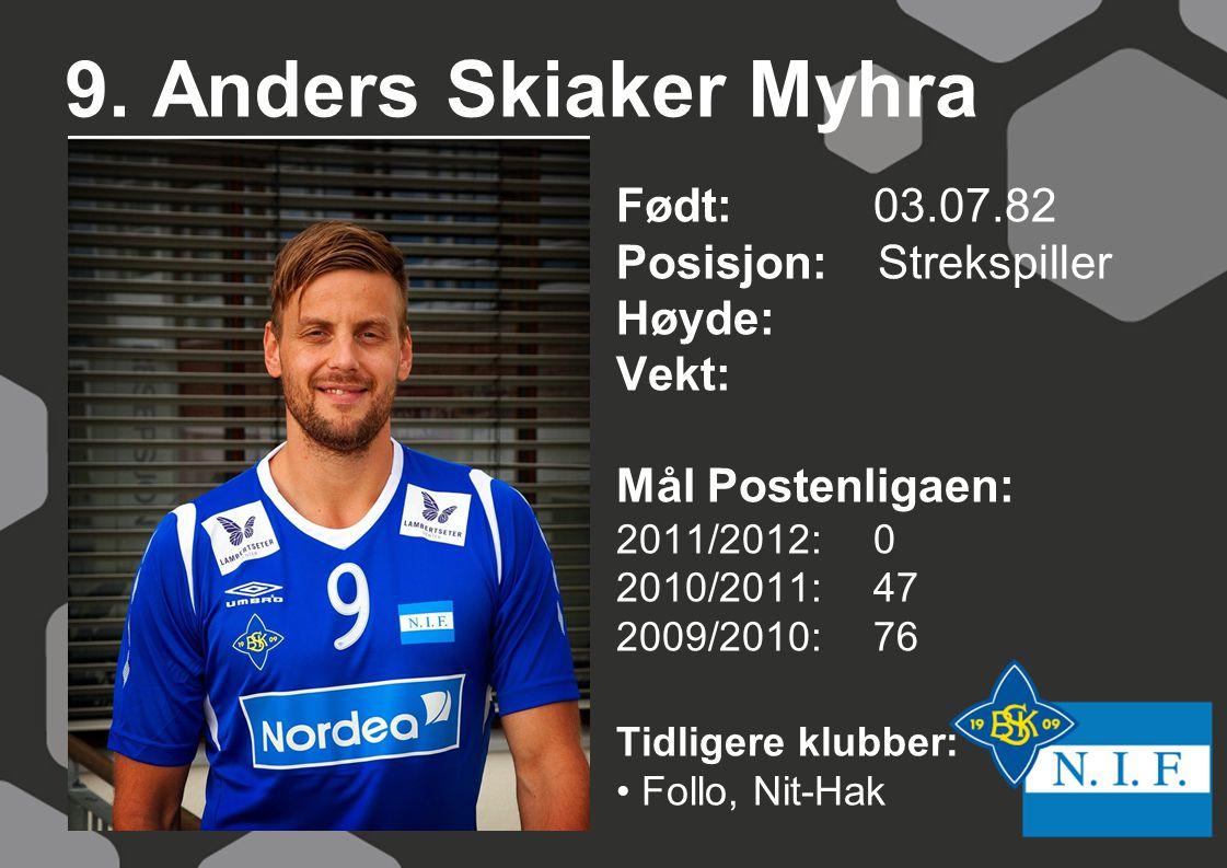 9. Anders Skiaker Myhra Født: 03.07.82 Posisjon: Strekspiller Høyde: Vekt: Mål Postenligaen: 2011/2012: 0 2010/2011: 47 2009/2010: 76 Tidligere klubbe