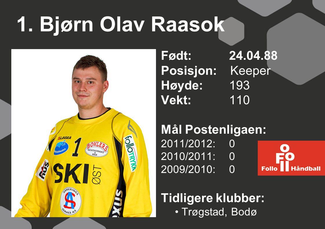 1. Bjørn Olav Raasok Født: 24.04.88 Posisjon: Keeper Høyde:193 Vekt:110 Mål Postenligaen: 2011/2012: 0 2010/2011: 0 2009/2010: 0 Tidligere klubber: Tr