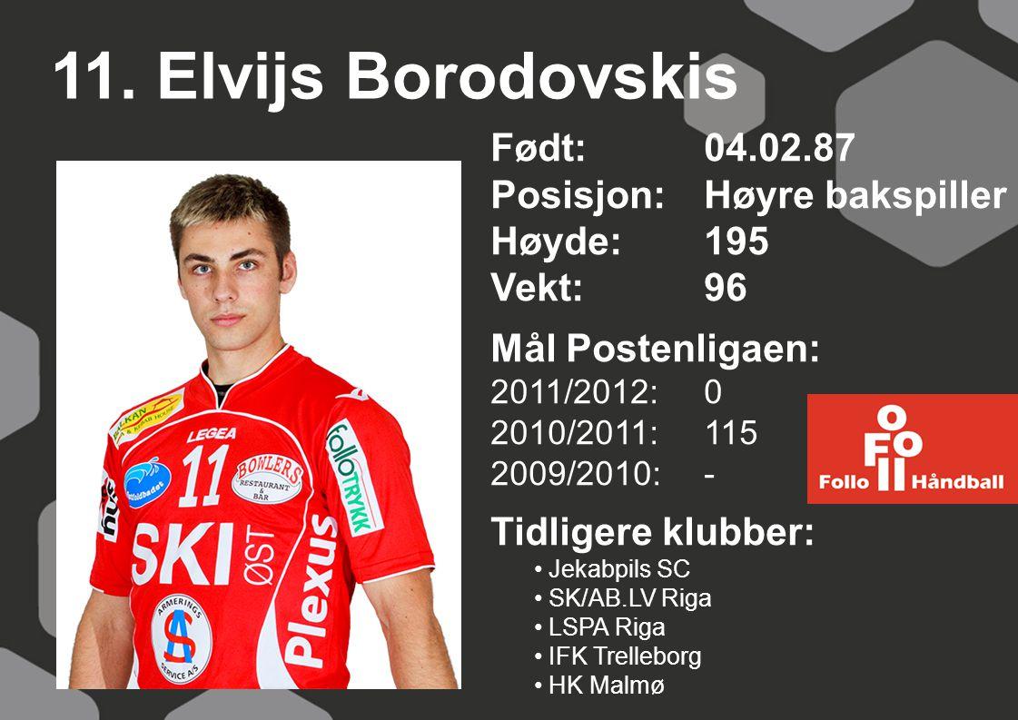 11. Elvijs Borodovskis Født: 04.02.87 Posisjon:Høyre bakspiller Høyde:195 Vekt:96 Mål Postenligaen: 2011/2012: 0 2010/2011: 115 2009/2010: - Tidligere