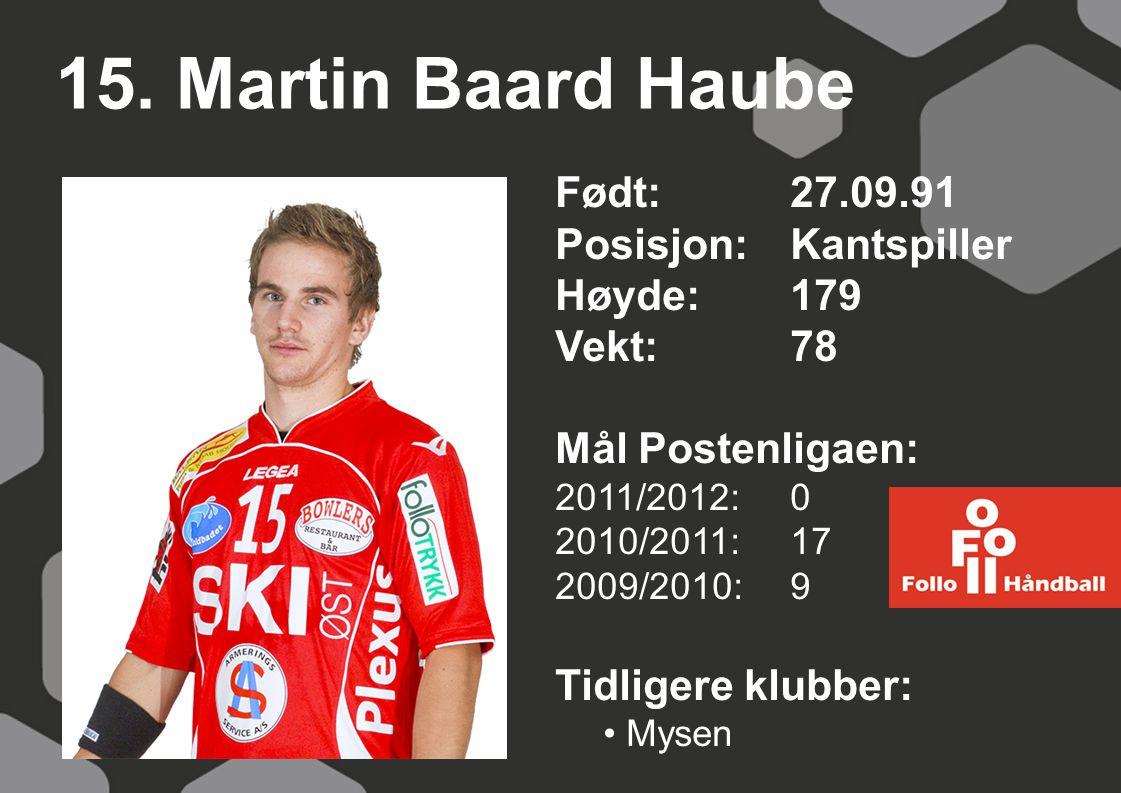 15. Martin Baard Haube Født: 27.09.91 Posisjon:Kantspiller Høyde:179 Vekt:78 Mål Postenligaen: 2011/2012: 0 2010/2011: 17 2009/2010: 9 Tidligere klubb