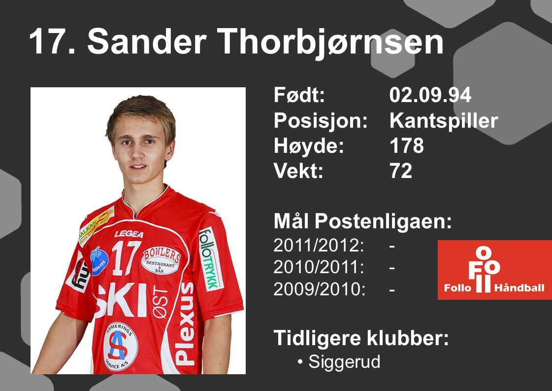 17. Sander Thorbjørnsen Født: 02.09.94 Posisjon:Kantspiller Høyde:178 Vekt:72 Mål Postenligaen: 2011/2012: - 2010/2011: - 2009/2010: - Tidligere klubb