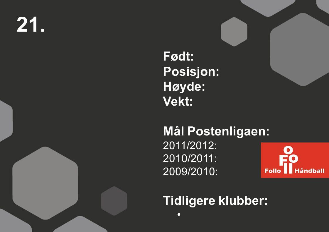 21. Født: Posisjon: Høyde: Vekt: Mål Postenligaen: 2011/2012: 2010/2011: 2009/2010: Tidligere klubber: