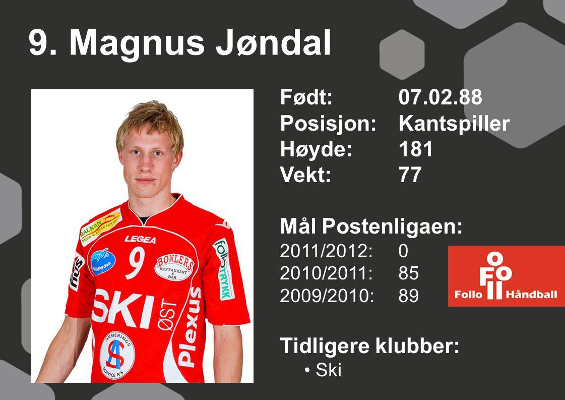 9. Magnus Jøndal Født:07.02.88 Posisjon:Kantspiller Høyde:181 Vekt:77 Mål Postenligaen: 2011/2012: 0 2010/2011: 85 2009/2010: 89 Tidligere klubber: Sk