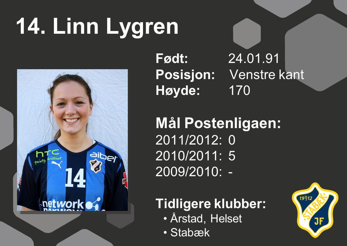 14. Linn Lygren Født: 24.01.91 Posisjon: Venstre kant Høyde:170 Mål Postenligaen: 2011/2012: 0 2010/2011: 5 2009/2010: - Tidligere klubber: Årstad, He