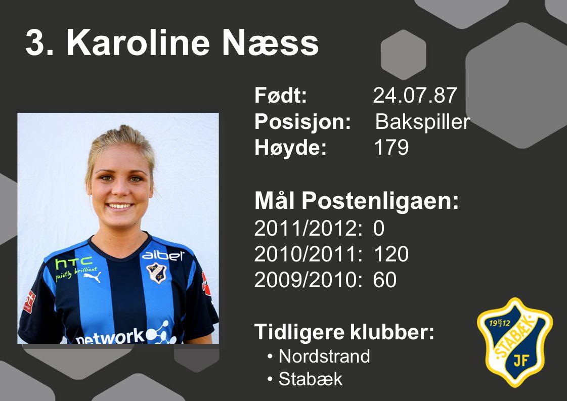 3. Karoline Næss Født: 24.07.87 Posisjon: Bakspiller Høyde:179 Mål Postenligaen: 2011/2012: 0 2010/2011: 120 2009/2010: 60 Tidligere klubber: Nordstra
