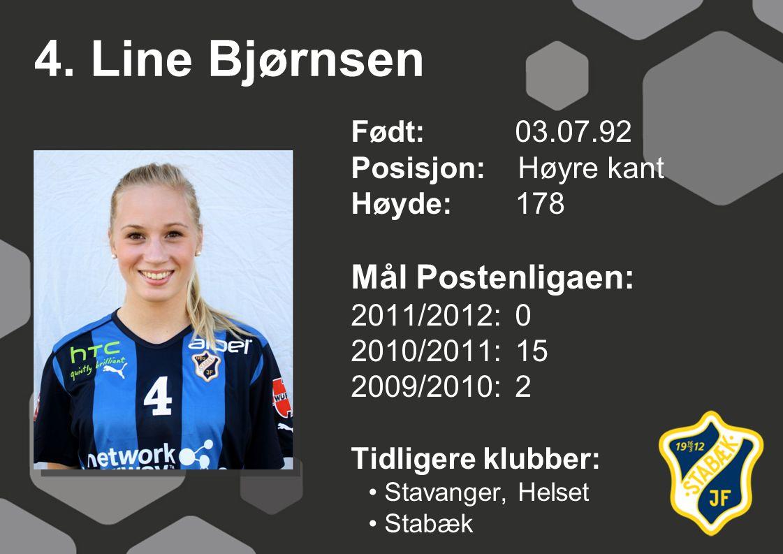 4. Line Bjørnsen Født: 03.07.92 Posisjon: Høyre kant Høyde:178 Mål Postenligaen: 2011/2012: 0 2010/2011: 15 2009/2010: 2 Tidligere klubber: Stavanger,