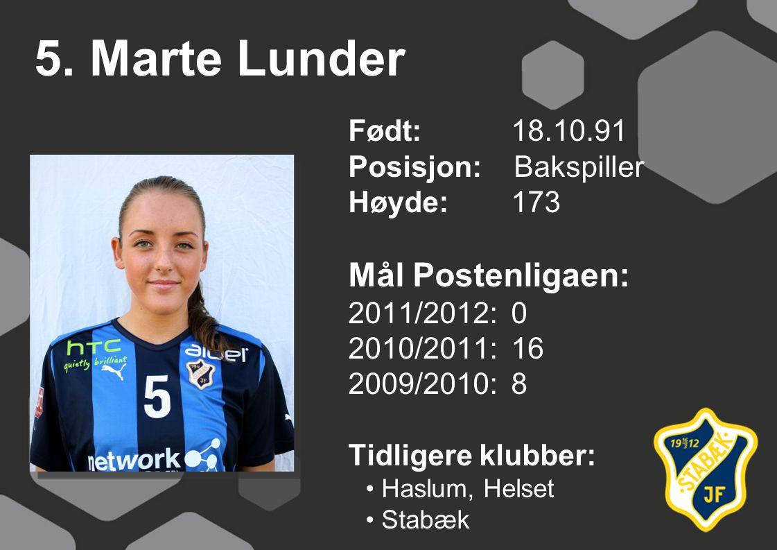 5. Marte Lunder Født: 18.10.91 Posisjon: Bakspiller Høyde:173 Mål Postenligaen: 2011/2012: 0 2010/2011: 16 2009/2010: 8 Tidligere klubber: Haslum, Hel