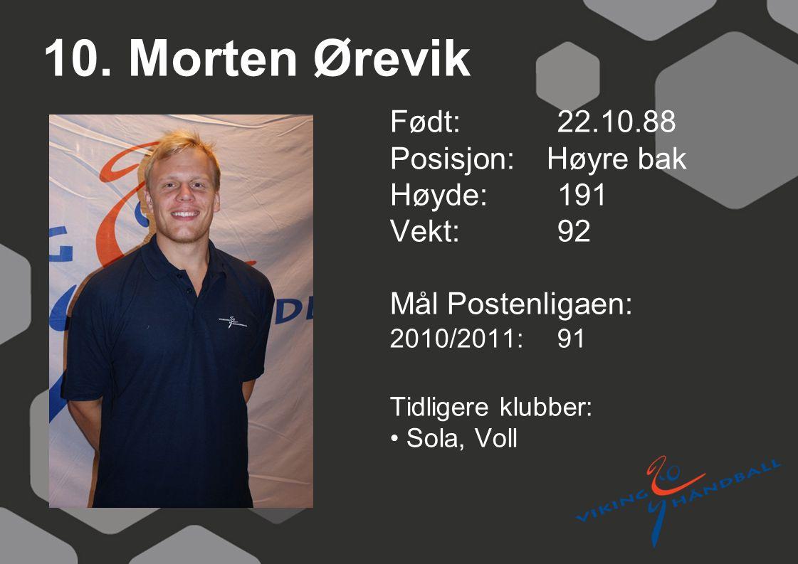 10. Morten Ørevik Født: 22.10.88 Posisjon: Høyre bak Høyde:191 Vekt:92 Mål Postenligaen: 2010/2011: 91 Tidligere klubber: Sola, Voll