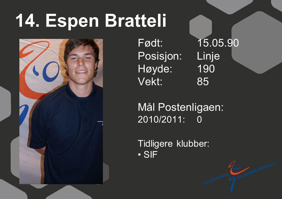 14. Espen Bratteli Født: 15.05.90 Posisjon: Linje Høyde:190 Vekt:85 Mål Postenligaen: 2010/2011: 0 Tidligere klubber: SIF