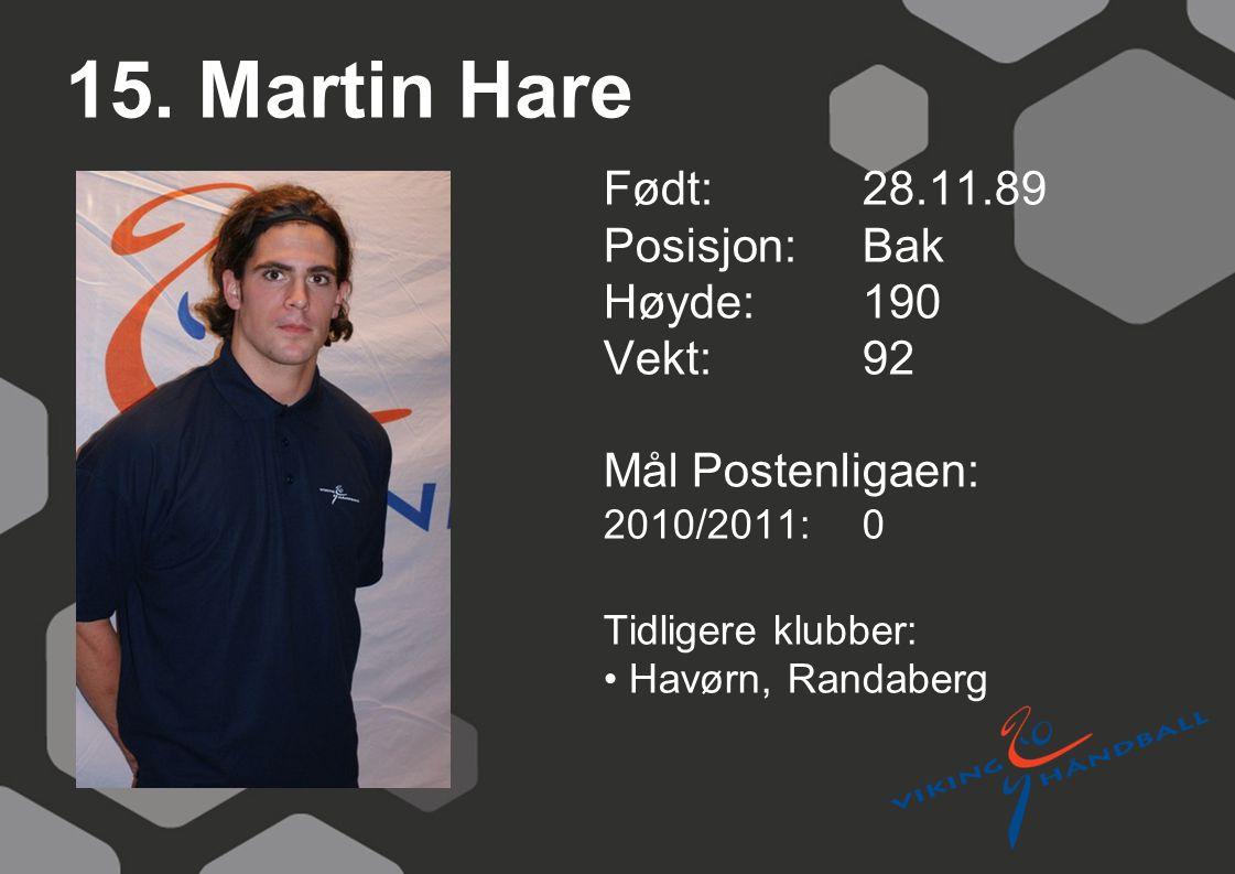 15. Martin Hare Født: 28.11.89 Posisjon:Bak Høyde:190 Vekt:92 Mål Postenligaen: 2010/2011: 0 Tidligere klubber: Havørn, Randaberg