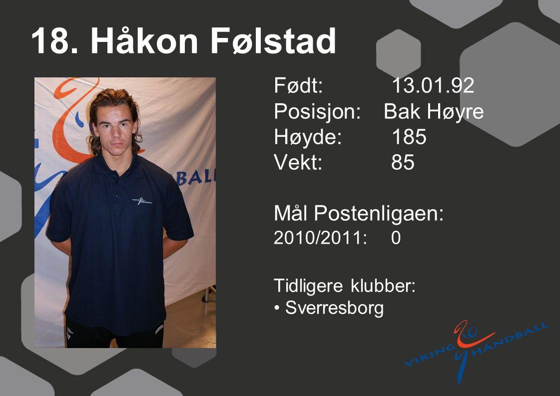 18. Håkon Følstad Født: 13.01.92 Posisjon: Bak Høyre Høyde:185 Vekt:85 Mål Postenligaen: 2010/2011: 0 Tidligere klubber: Sverresborg