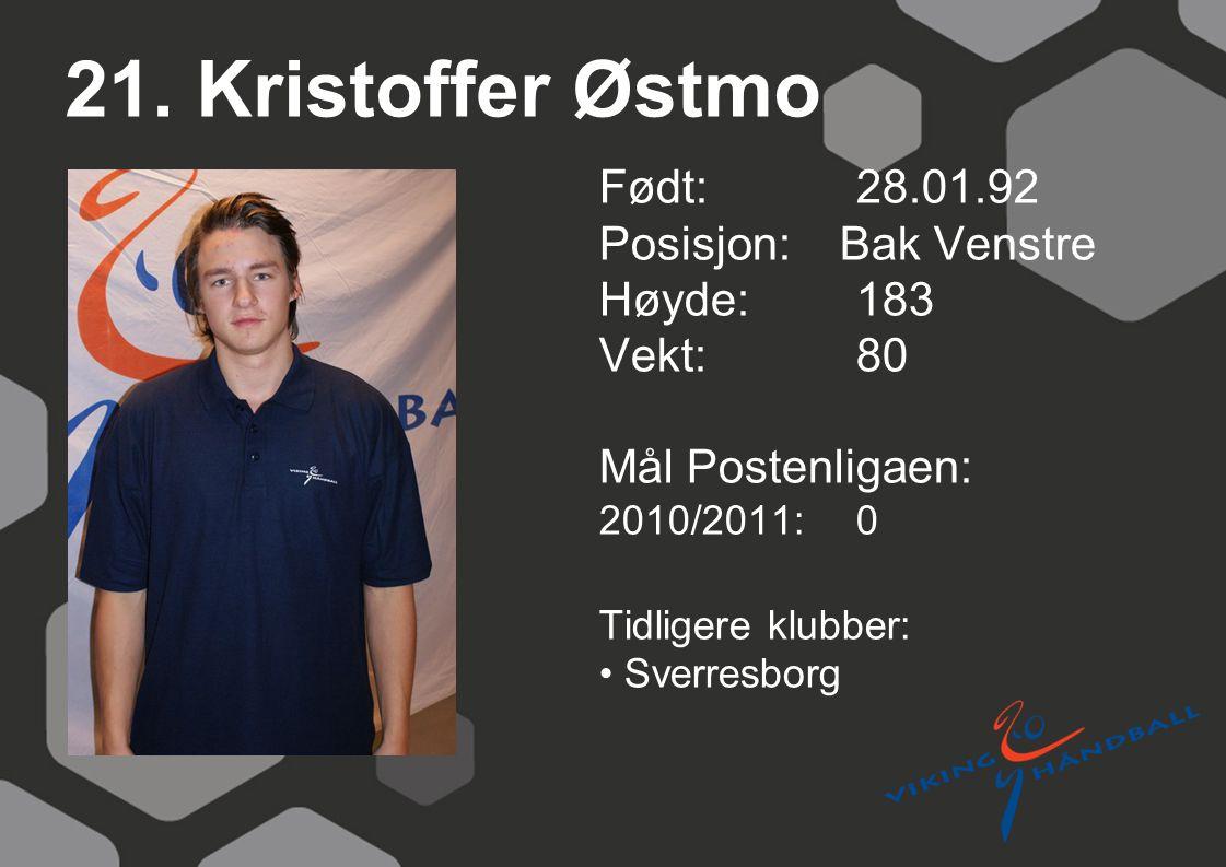21. Kristoffer Østmo Født: 28.01.92 Posisjon: Bak Venstre Høyde:183 Vekt:80 Mål Postenligaen: 2010/2011: 0 Tidligere klubber: Sverresborg