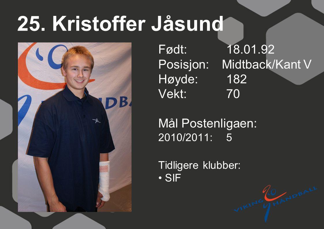 25. Kristoffer Jåsund Født: 18.01.92 Posisjon: Midtback/Kant V Høyde:182 Vekt:70 Mål Postenligaen: 2010/2011: 5 Tidligere klubber: SIF