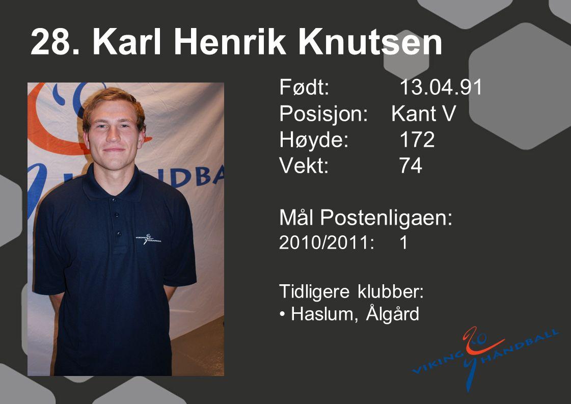 28. Karl Henrik Knutsen Født: 13.04.91 Posisjon: Kant V Høyde:172 Vekt:74 Mål Postenligaen: 2010/2011: 1 Tidligere klubber: Haslum, Ålgård