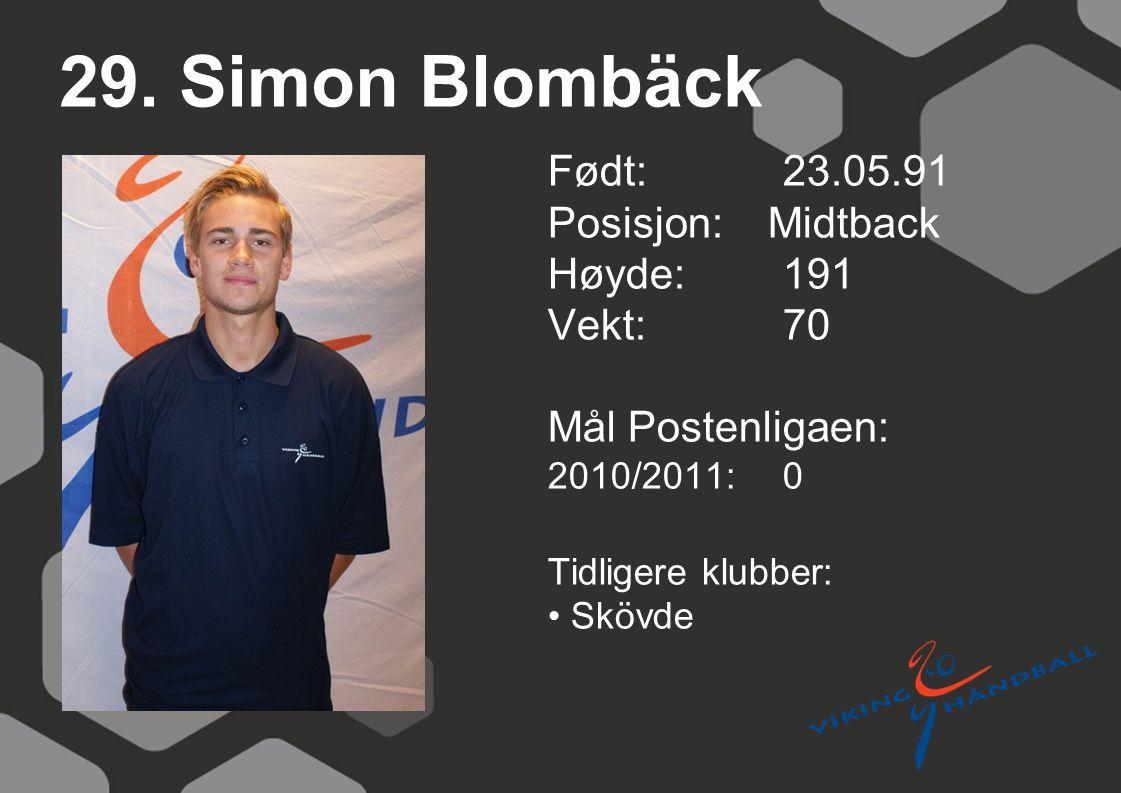 29. Simon Blombäck Født: 23.05.91 Posisjon: Midtback Høyde:191 Vekt:70 Mål Postenligaen: 2010/2011: 0 Tidligere klubber: Skövde