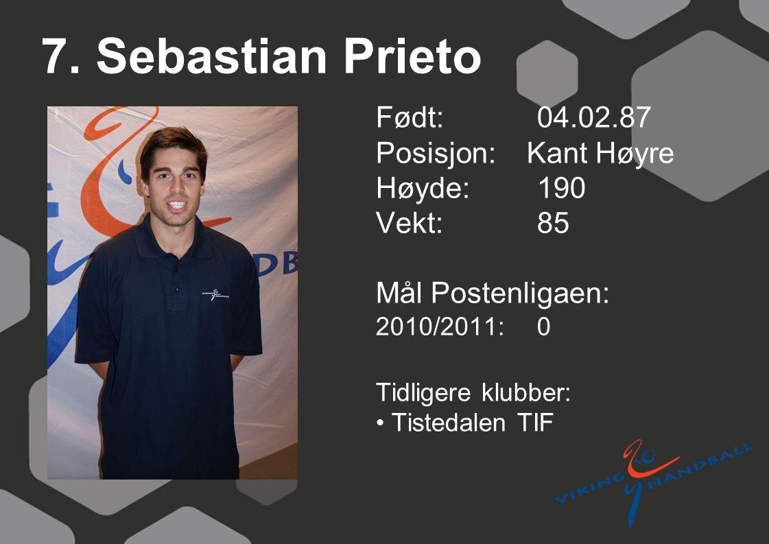 7. Sebastian Prieto Født: 04.02.87 Posisjon: Kant Høyre Høyde:190 Vekt:85 Mål Postenligaen: 2010/2011: 0 Tidligere klubber: Tistedalen TIF