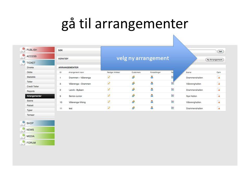 Opprette Hånndballskolen gi arrangementet navn.navnet på arrangement og scene må være forskjellig.