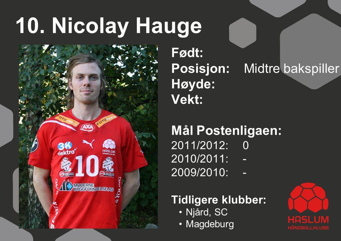 10. Nicolay Hauge Født: Posisjon: Midtre bakspiller Høyde: Vekt: Mål Postenligaen: 2011/2012: 0 2010/2011: - 2009/2010: - Tidligere klubber: Njård, SC