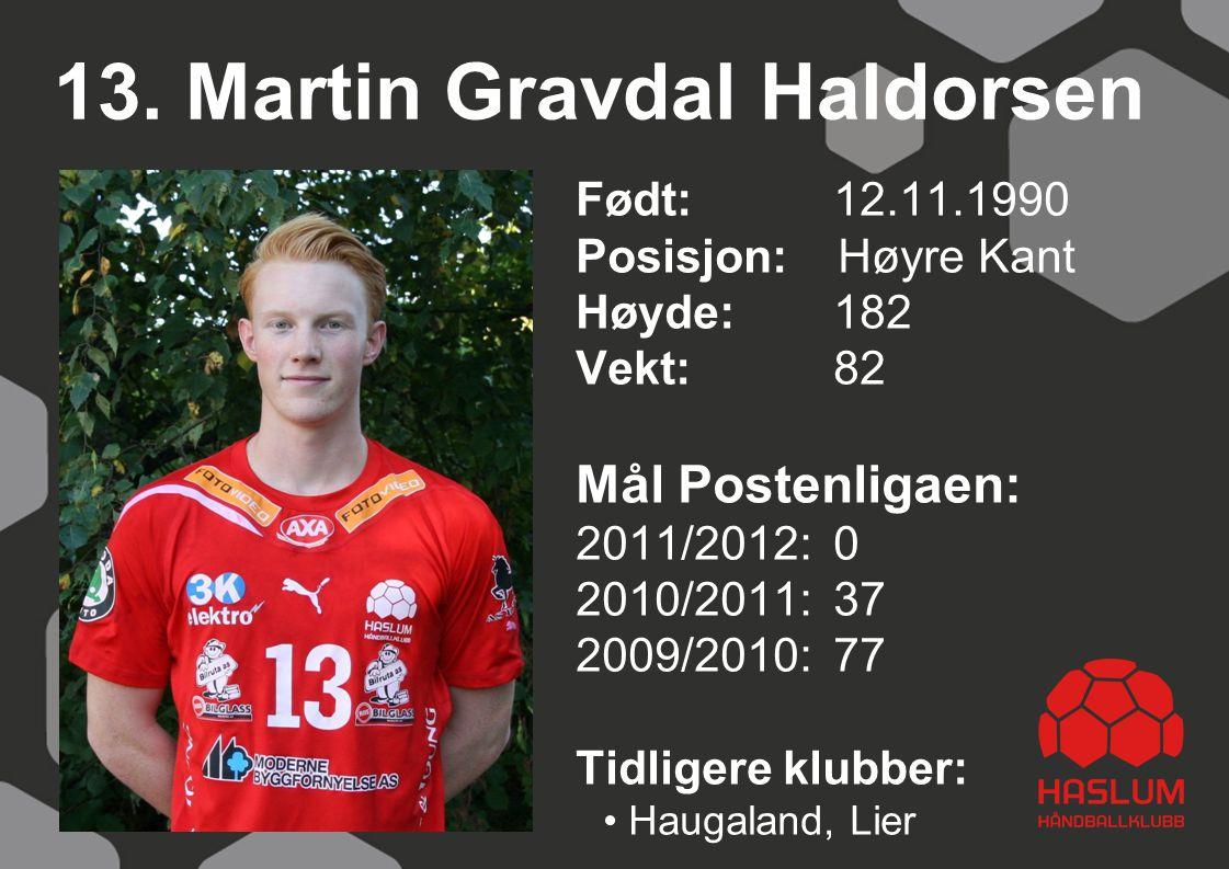 13. Martin Gravdal Haldorsen Født: 12.11.1990 Posisjon: Høyre Kant Høyde:182 Vekt:82 Mål Postenligaen: 2011/2012: 0 2010/2011: 37 2009/2010: 77 Tidlig